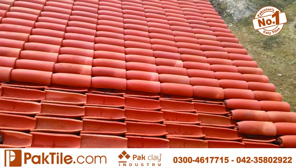 002 Front face khaprail house design terracotta roof tiles installation in dha karachi images
