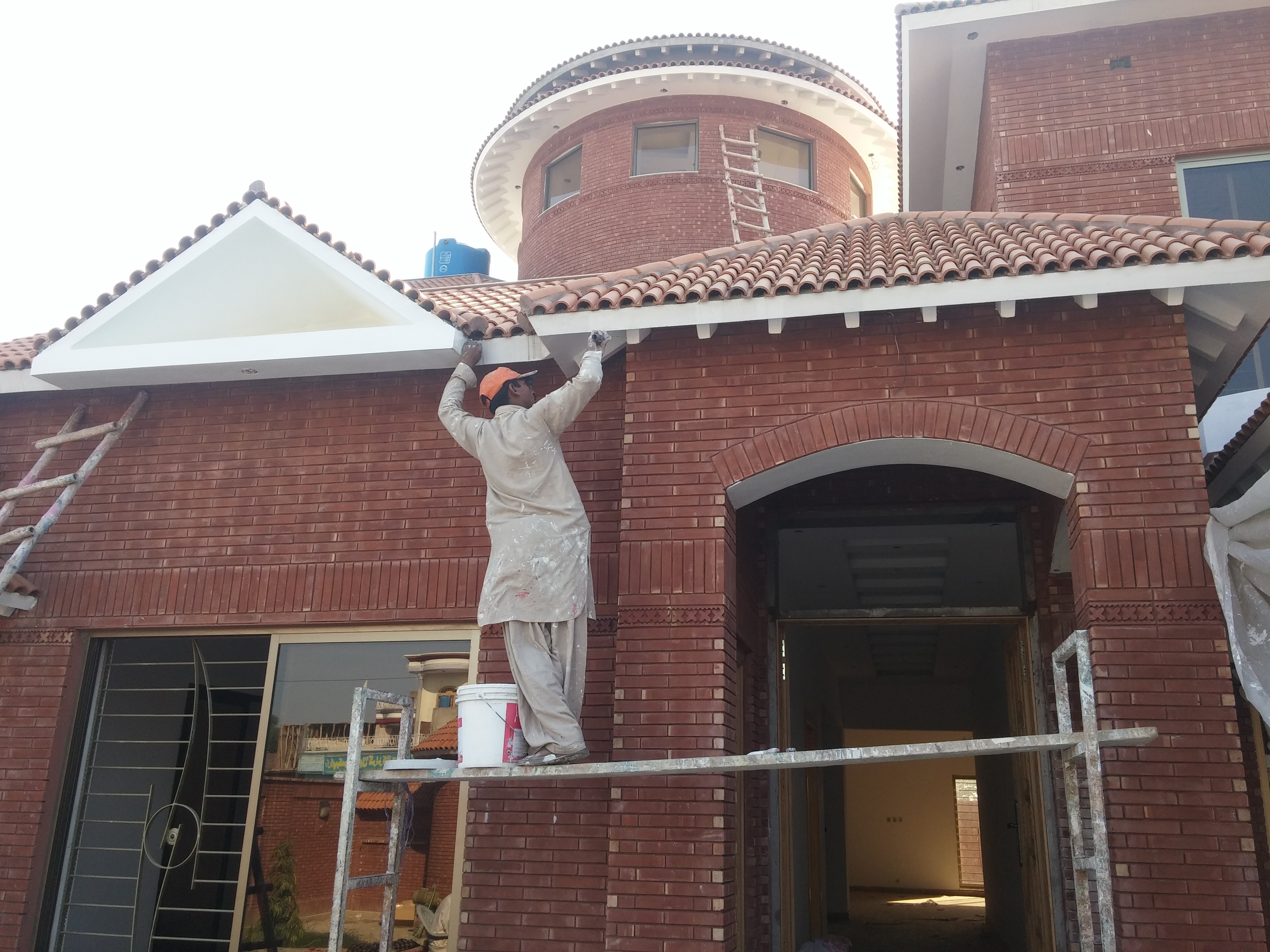 House design lahore -  Gutka Red Bricks House Front Wall Tiles Design Rate Images In Islamabd