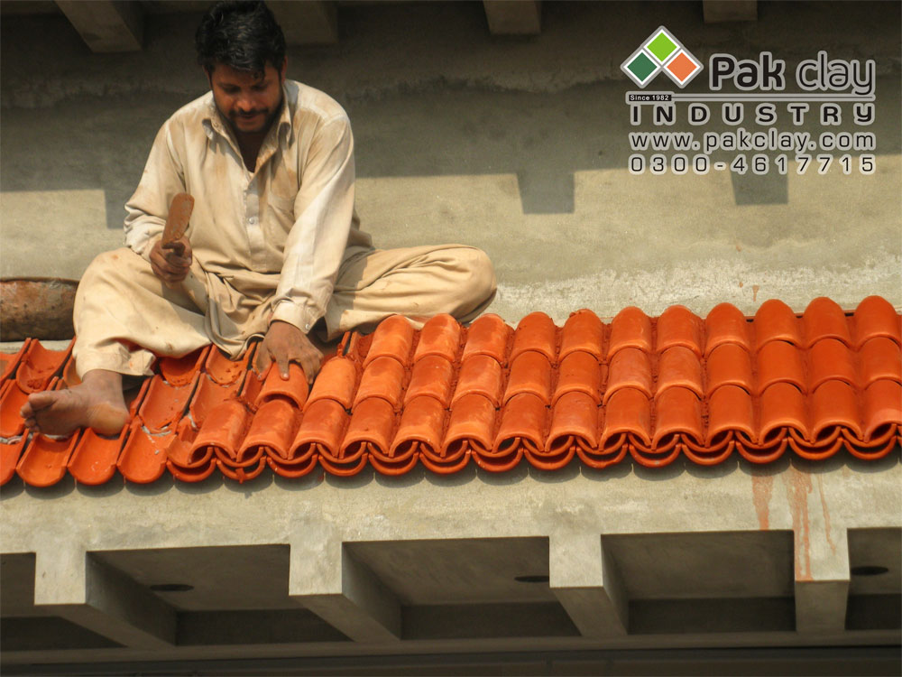 Clay roof and floor tiles images installation service in all our pakistan